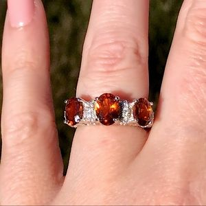 Judith Ripka Sterling Silver Ring with Hessonite